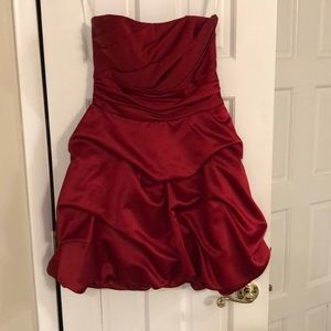 David's bridal  little red satin dress